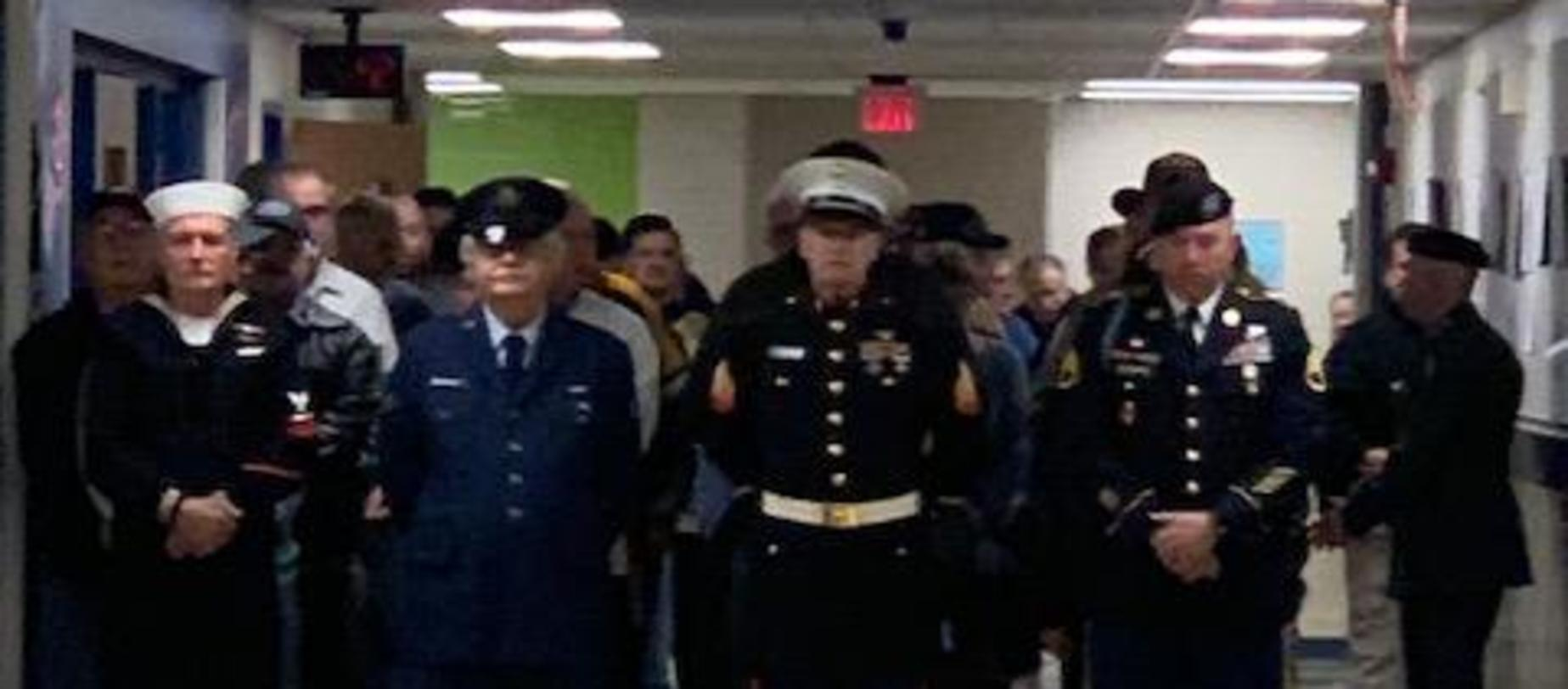 veterans lined up