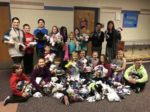 Student council with all the donated socks.