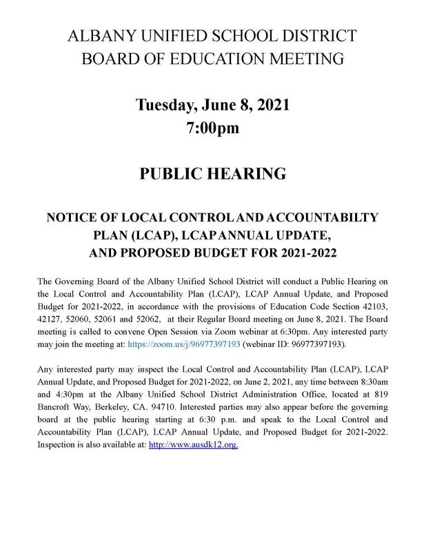 Public Hearing Notice LCAP and Budget FY2021-2022