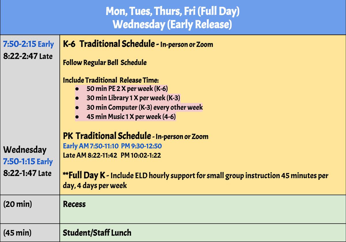Elementary schedule effective April 19.