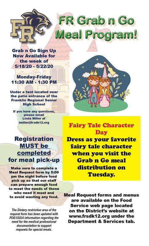 Grab n Go Tuesday Meals - Fairy Tale Character Day! - 5.19.20
