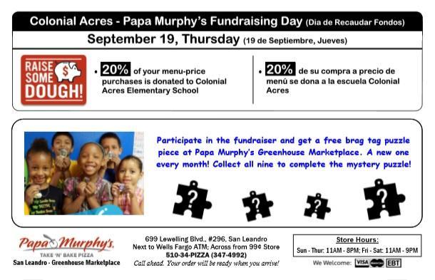 September 19th Papa Murphy's Pizza Fundraiser Featured Photo