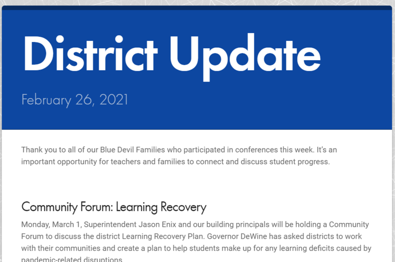 Front Page of District Update for 2/26/2021