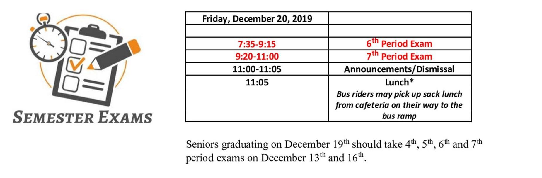 Friday Exam Schedule