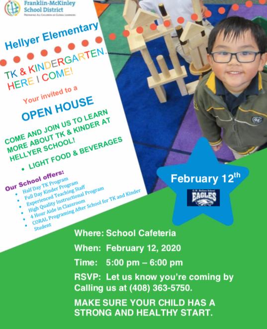 TK/Kindergarten Open House February 12th Thumbnail Image