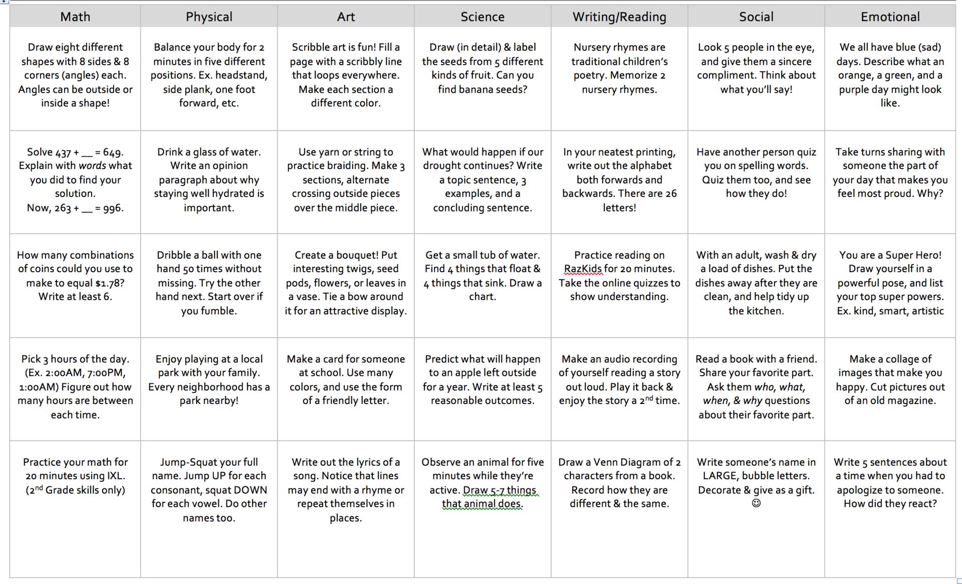 2nd grade Activity Options