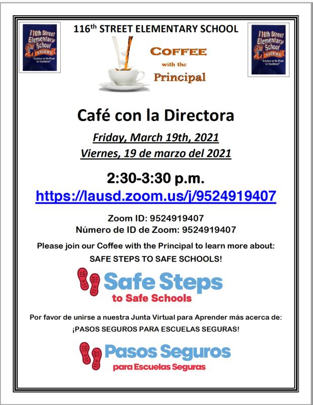 Coffee With the Principal on (F) 3/19/2021 @ 2:30 PM!/Cafe Con la Directora el (V) 3/21/2021 @ 2:30 PM! Thumbnail Image