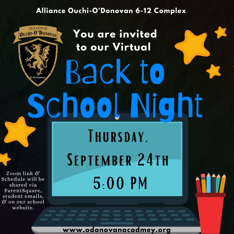 Virtual Back to School Night: Thursday, Sept. 24th from 5:00 -6:30 PM Thumbnail Image