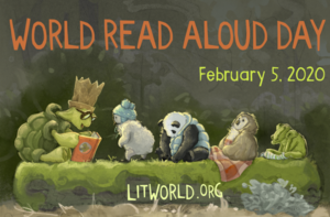animals reading books, logo for world read aloud day