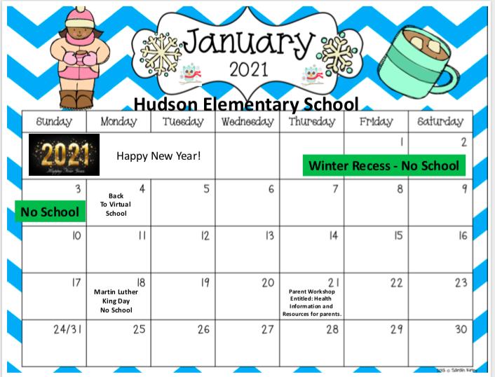 January calendar in English