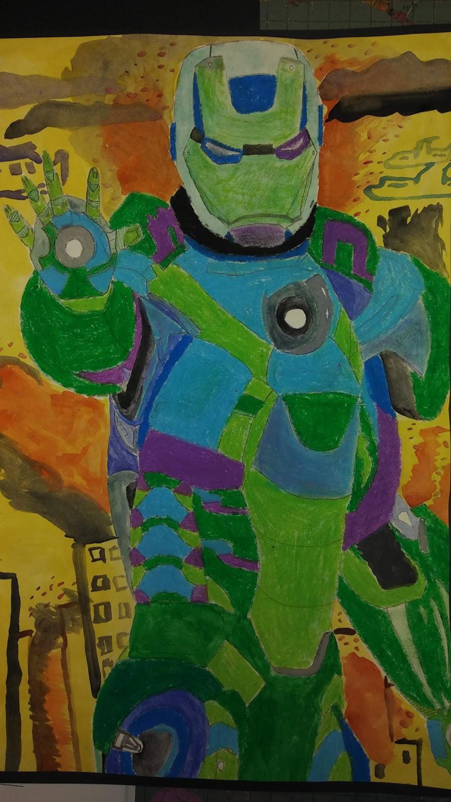 Landmark Student Drawing of Iron Man