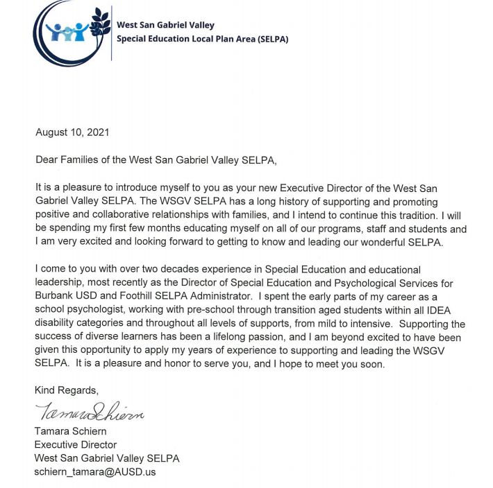 WSGV SELPA Executive Director Letter of Introduction
