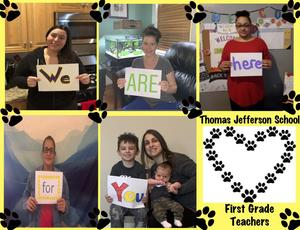 first grade teacher collage sending love to their students