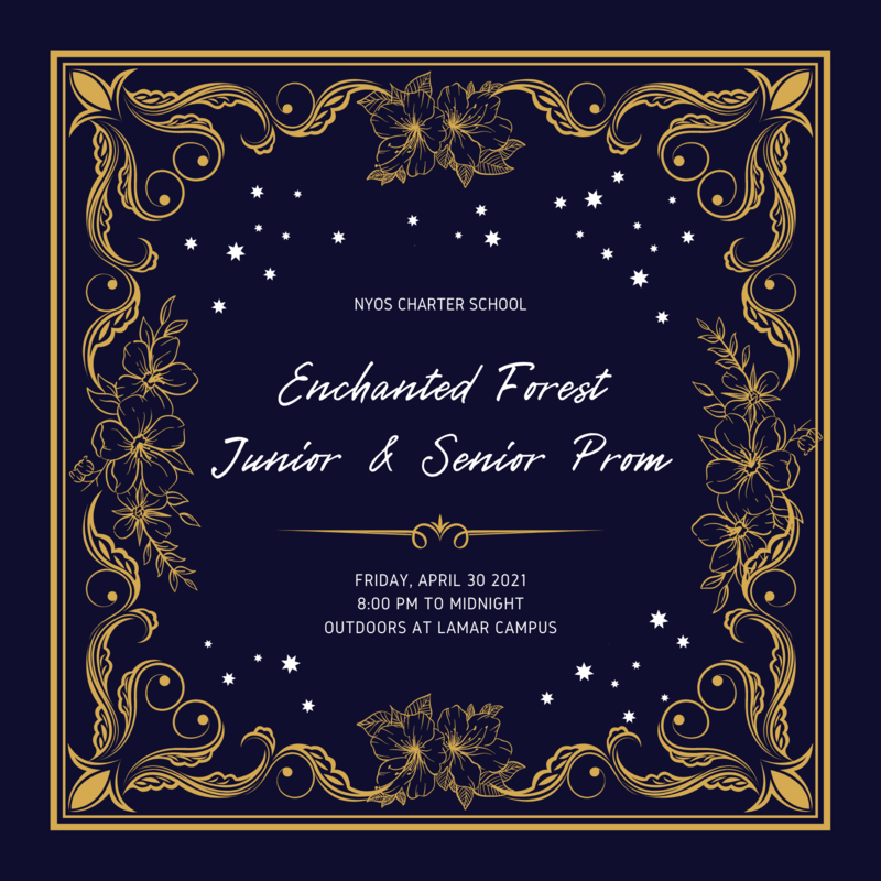 Dark blue and gold prom invitation with gold flowers and stars