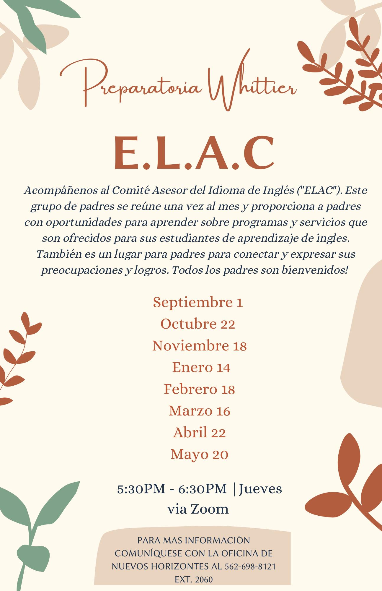 2020-2021 ELAC Meetings