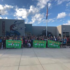 18-19 Walk to school day picture with all students and flyers