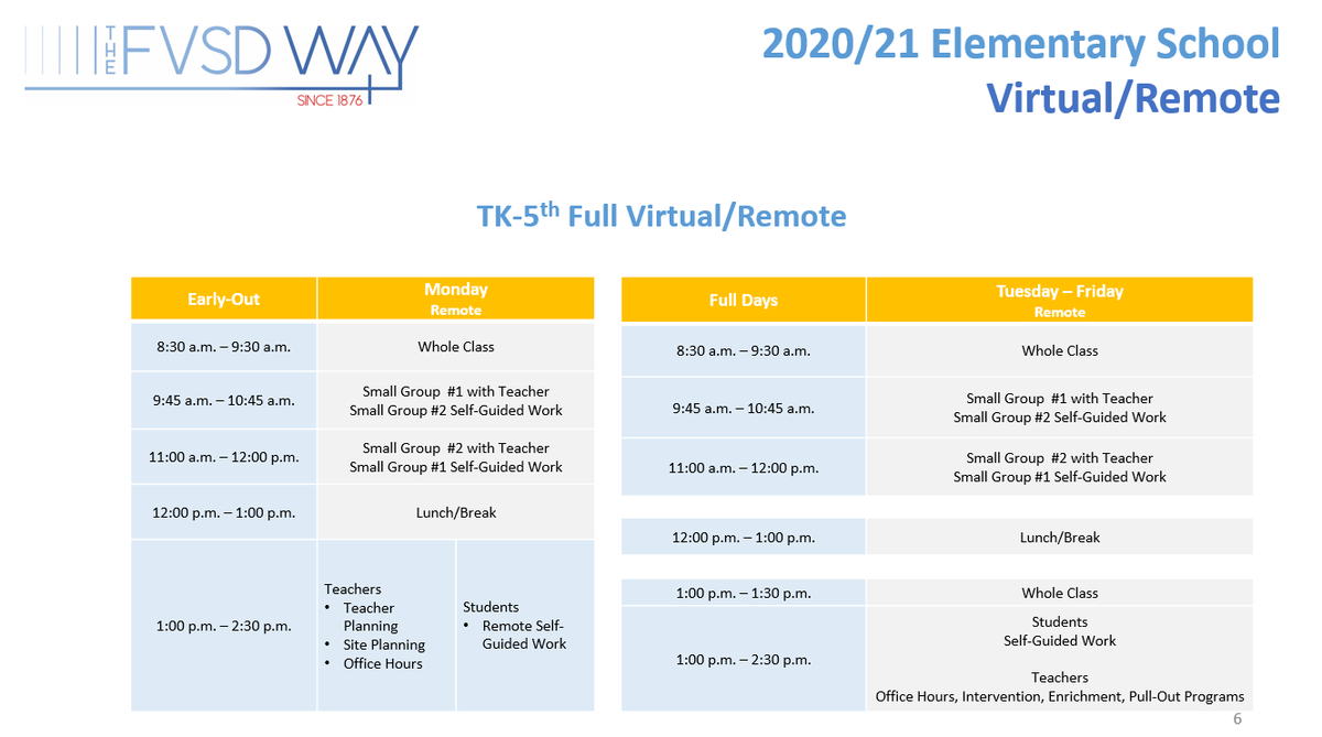 Virtual-Remote Elementary Daily Schedule - please contact Ed Services if you need assistance