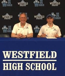 Westfield High School senior Matthew Bartok signs Letter of Intent to join the tennis team at Hamilton College.  Pictured here with Coach George Kapner.