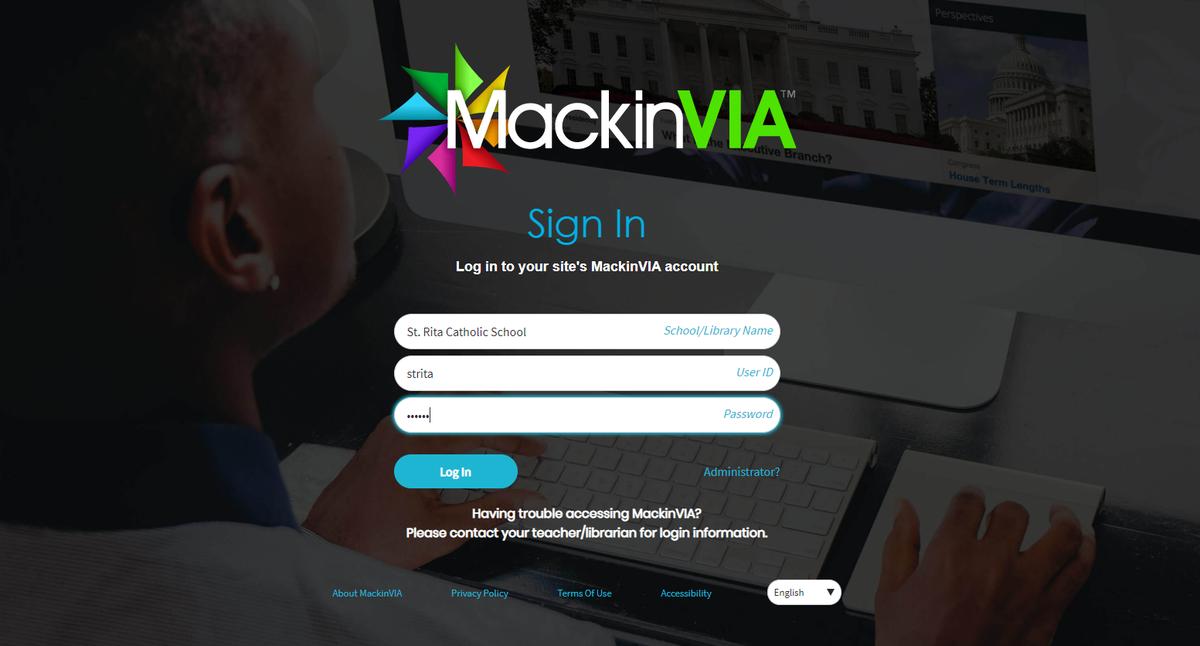 MackinVia login screen