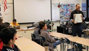Rabbi Ethan Prosnit of Temple Emanu-El shared tenets of Judaism, including the Torah, with a Comparative Religions class at Westfield High School on Jan. 17.
