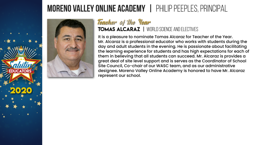 Moreno Valley Online Academy Employees of the Year