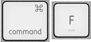 Command and F keys on a Mac