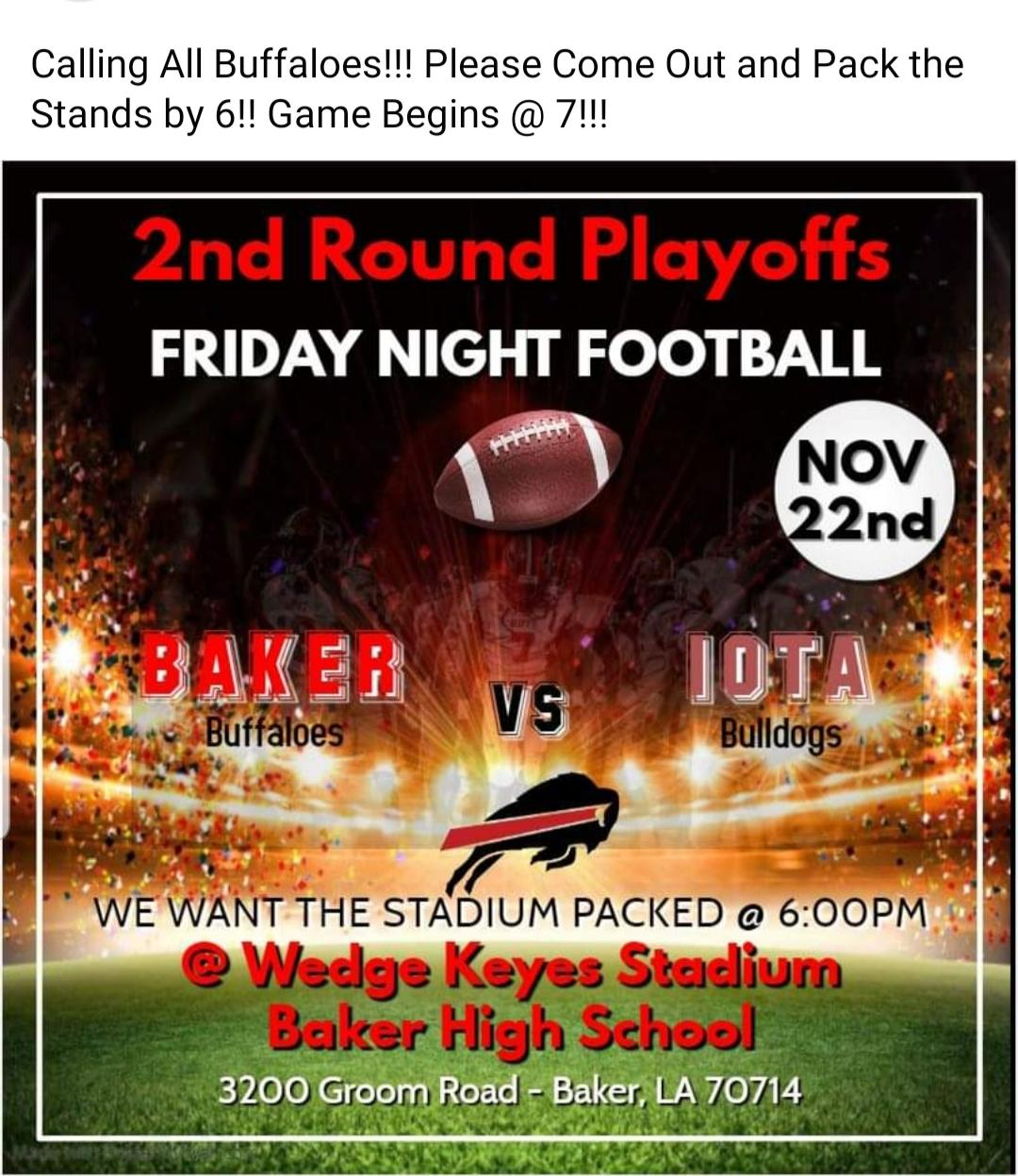 A photo of flyer promoting the Baker High School 2nd Round Playoff Game