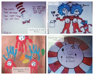 Students' Dr. Seuss book drawings collage