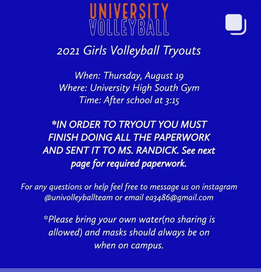 Girls Volleyball Tryouts 2021 Fall