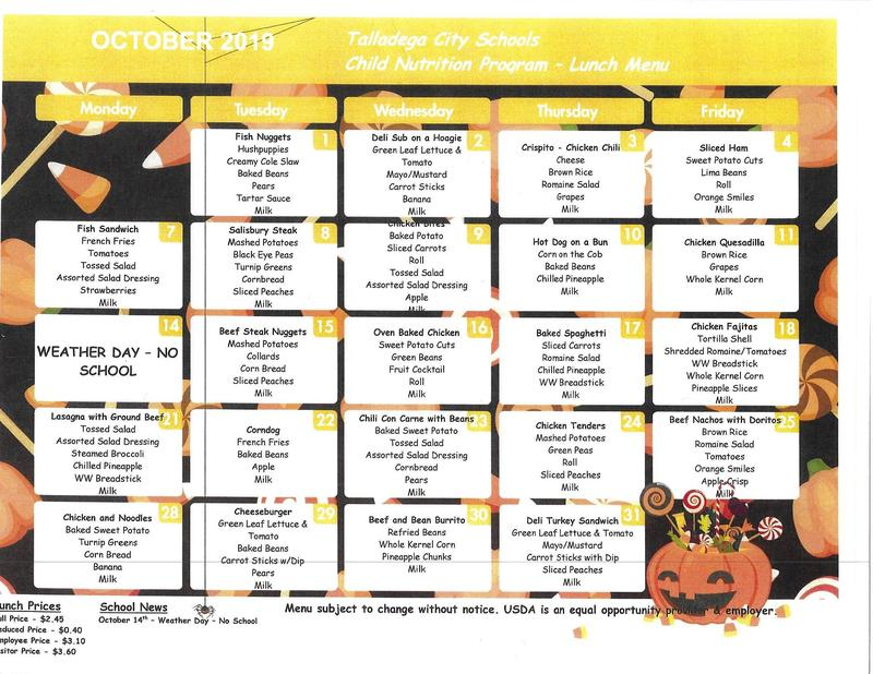 October Lunch Menu Featured Photo