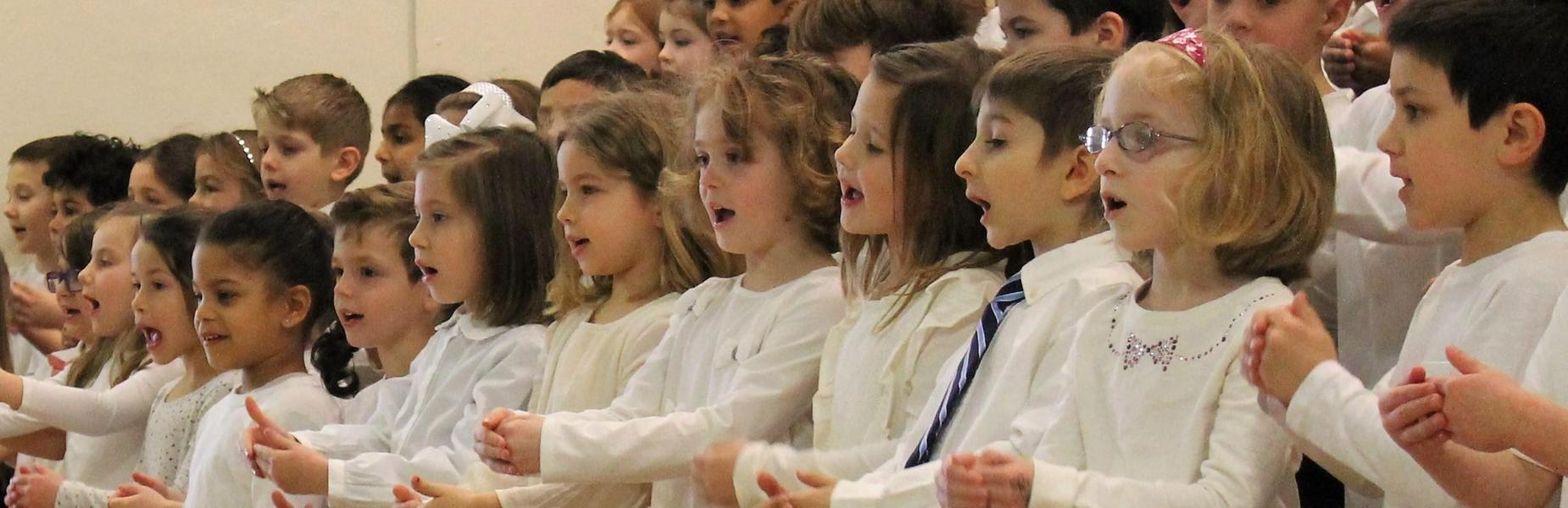 Kindergartners sing during spring concert.