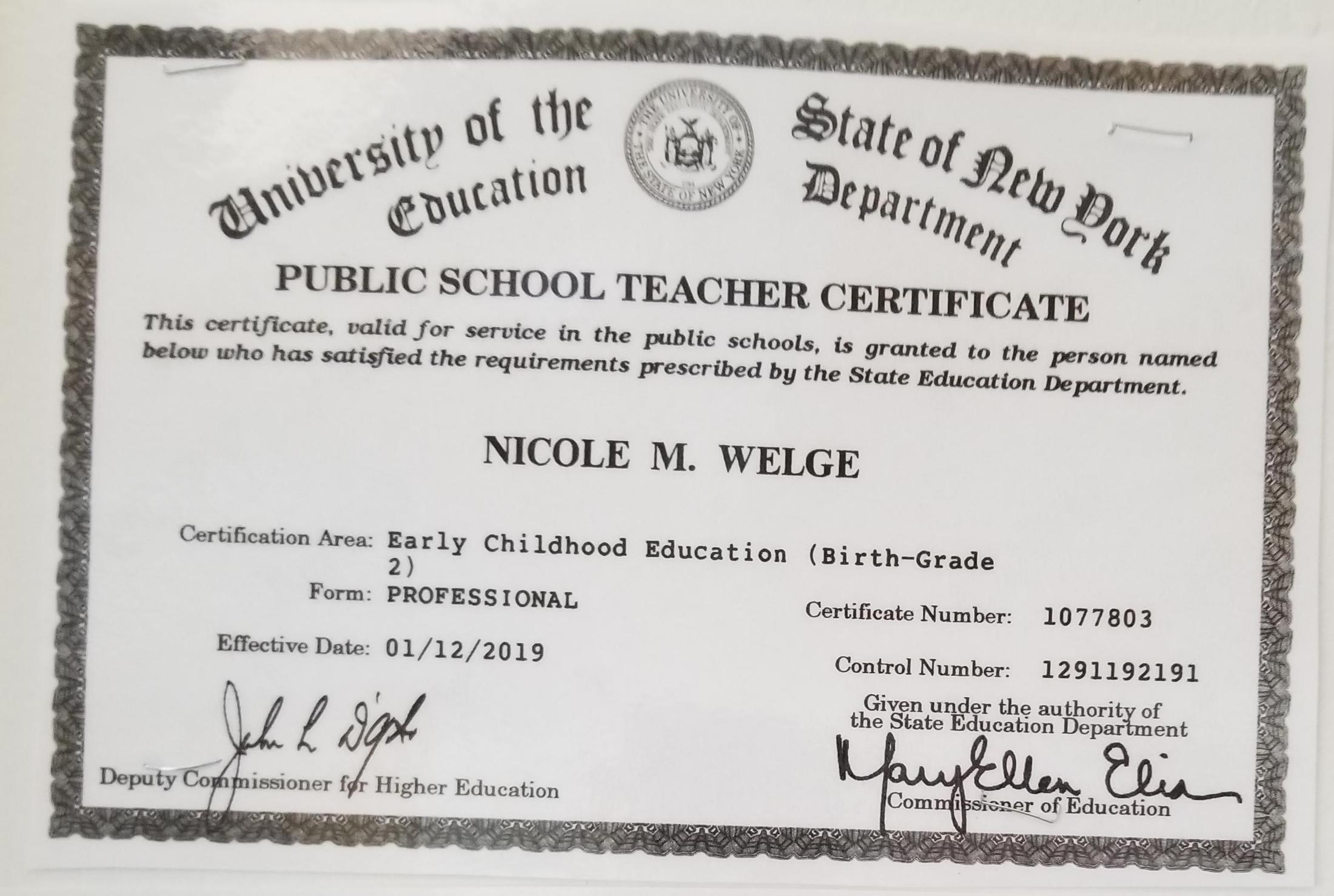 About Me Miss Nicole Welge Greenwich Catholic School