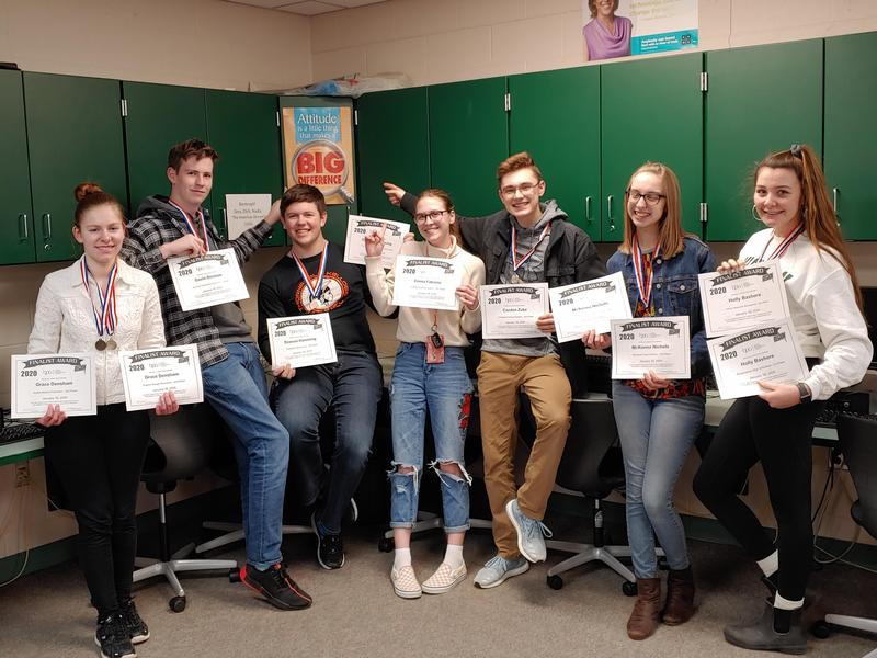 TKHS BPA students receive their regional awards to advance to state competition.