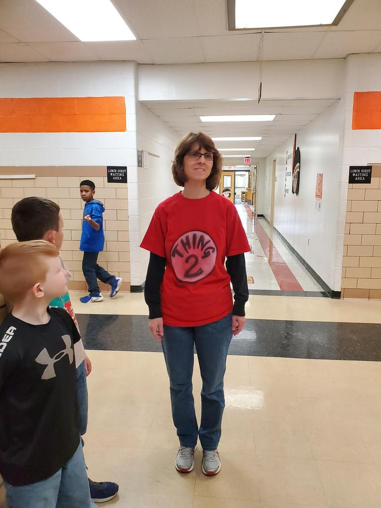 "Mrs. Gregory wearing ""Thing 2"" tee shirt"