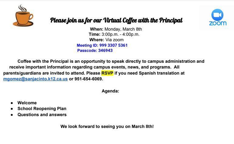 March Coffee with the Principal