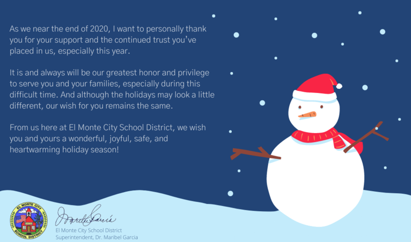Holiday Message from EMCSD Superintendent Garcia