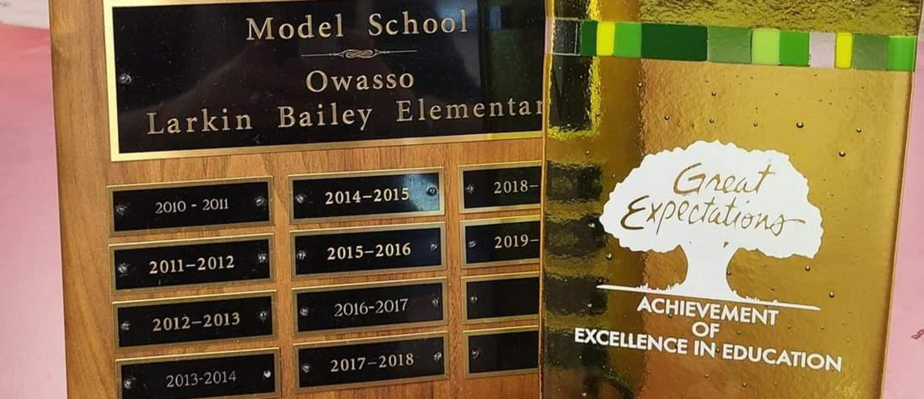 Great Expectations Model Plaque and Glass Award
