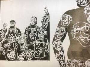 ABSTRACT HUMAN BODIES IN BLACK AND WHITE