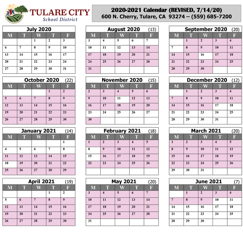 20-21 Revised Calendar