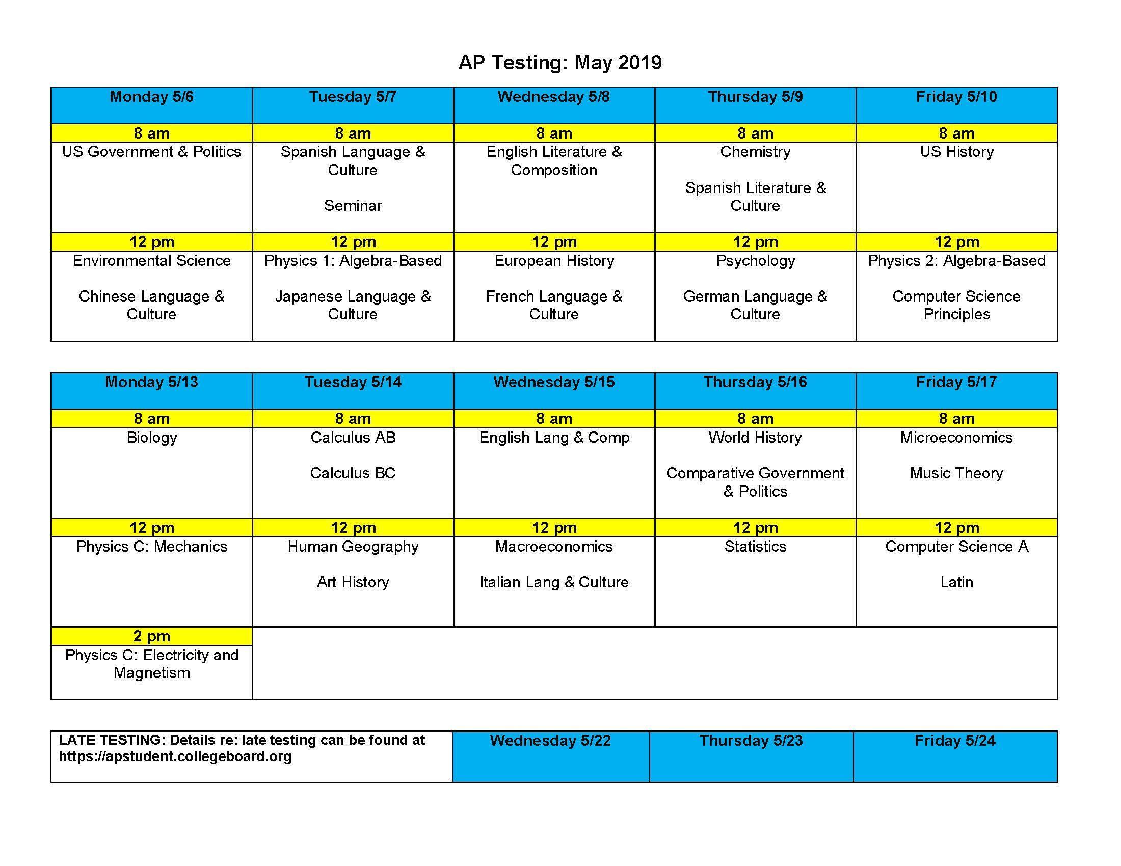 2019 Ap Calendar Testing – Parent Info – San Pasqual High