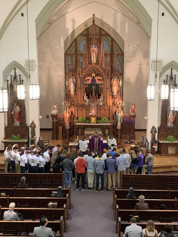photo from the OLSH choir loft of the OLSH spring student athlete blessing