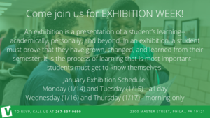"""Four times a year, students will present comprehensive exhibitions of their learning in advisory. Students will critique each other's work and revise their own. Advisory is not a time for teachers to """"deliver content (1).png"""