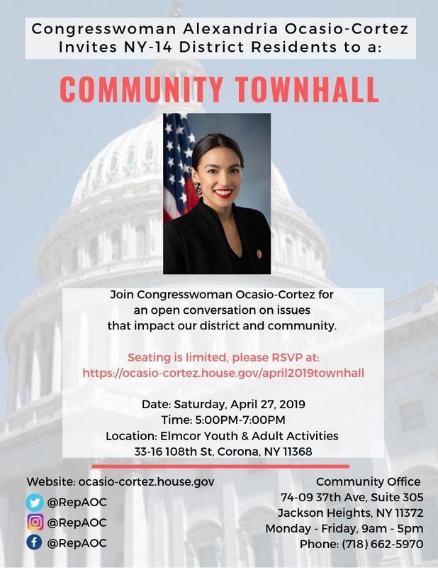 Maspeth High School Encourages Civic Participation . . . Congresswoman Alexandria Ocasio-Cortez Community Town Hall Featured Photo