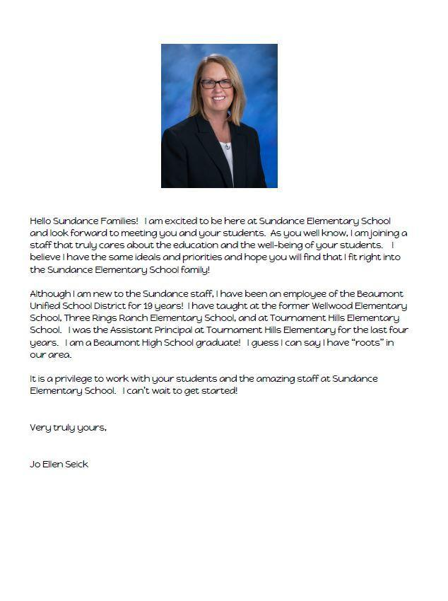 Letter from our Assistant Principal