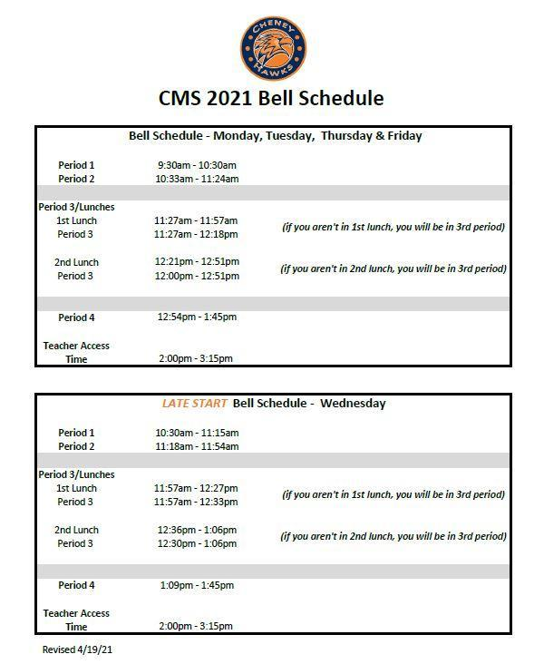 2020-2021 4th Quarter Bell Schedule Thumbnail Image