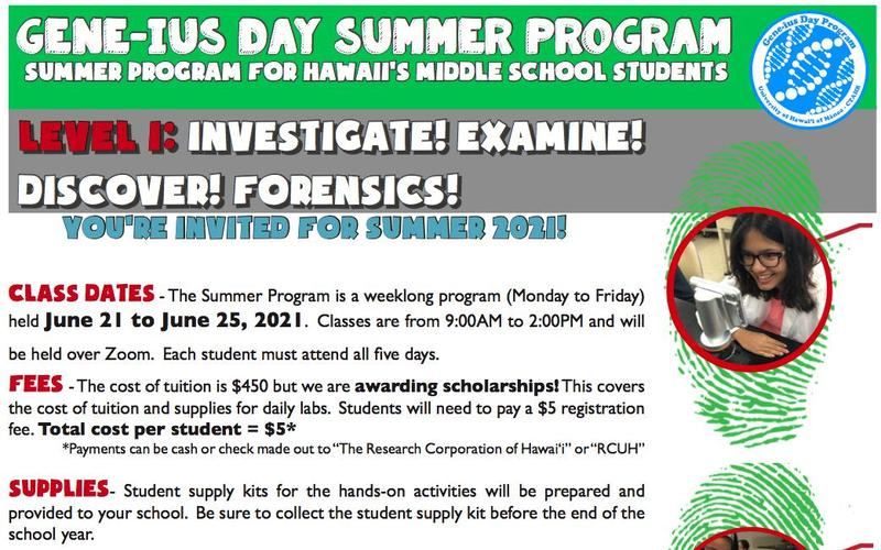 GENE-ius Day Summer Program Summer Program for Hawaii's Middle School Students Featured Photo