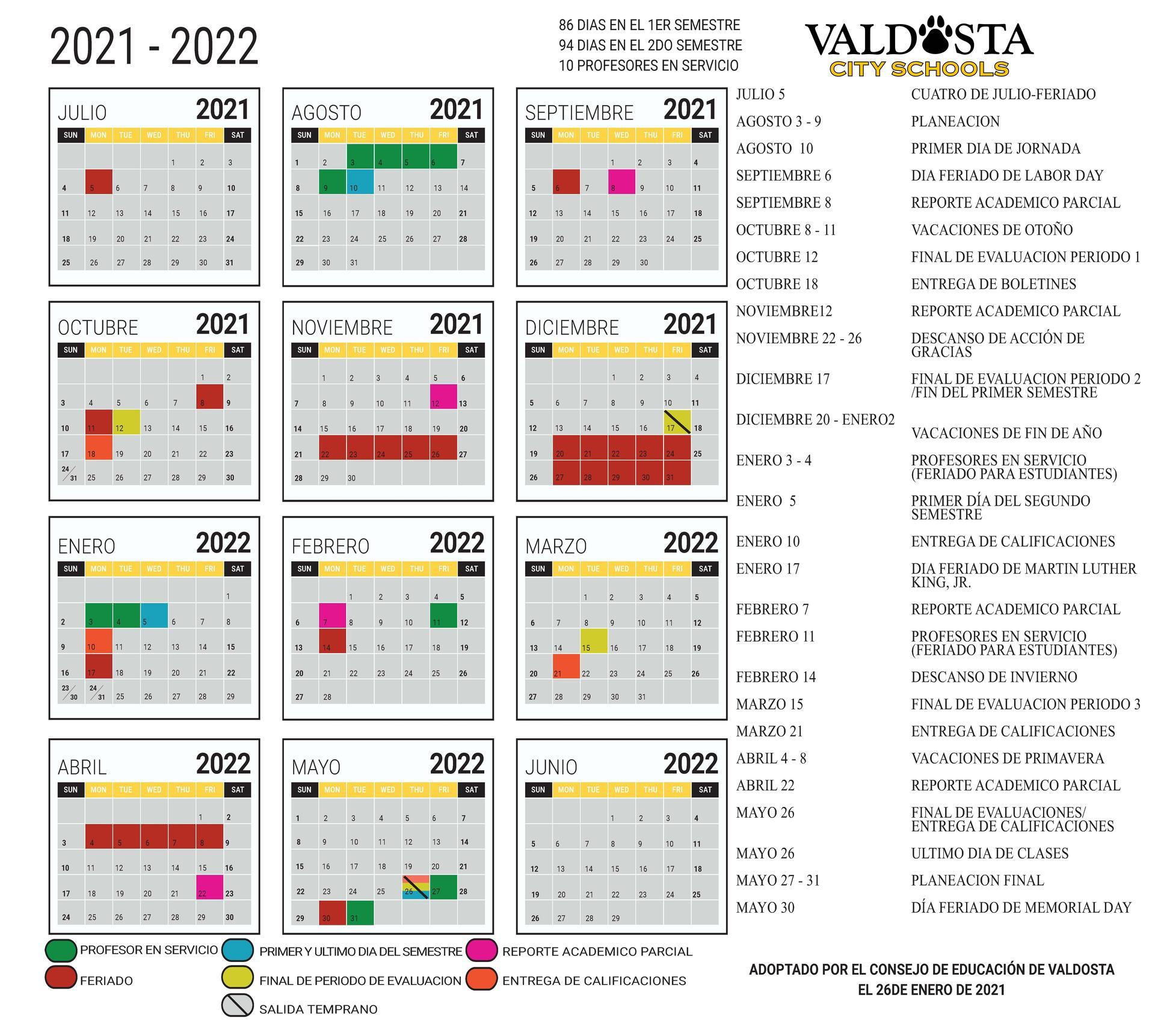 Haz clic aquí para descargar el Calendario Académico Español 2021-2022