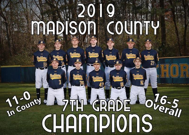 BMS Baseball's 7th Grade Bucks won the County Title Tuesday night vs Monrovia!  Congratulations to all of our players, coaches, and parents!  Special thanks to all of the students that packed the bleachers out!  Photo Courtesy of Robert Owen.