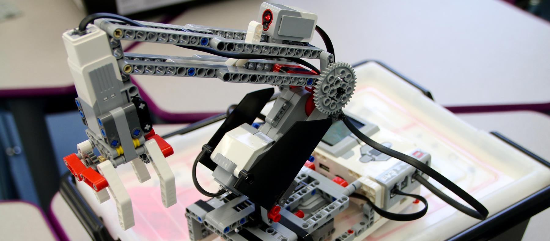 lego robot in robotics class
