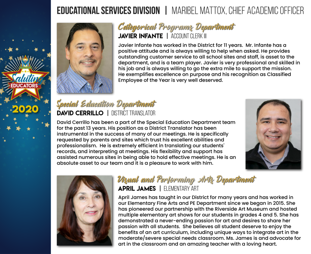 Educational Services Division Employees of the Year